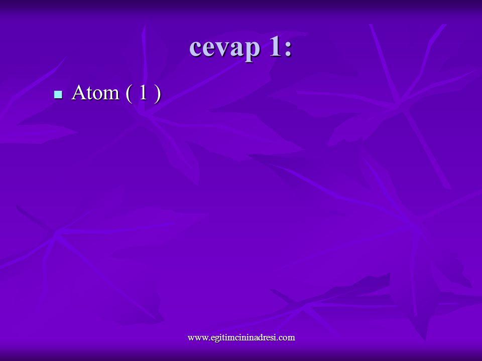 cevap 1: Atom ( 1 ) Atom ( 1 ) www.egitimcininadresi.com