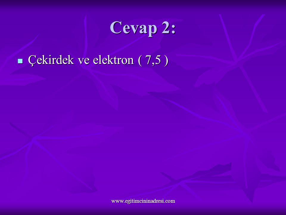 Cevap 2: Çekirdek ve elektron ( 7,5 ) Çekirdek ve elektron ( 7,5 ) www.egitimcininadresi.com