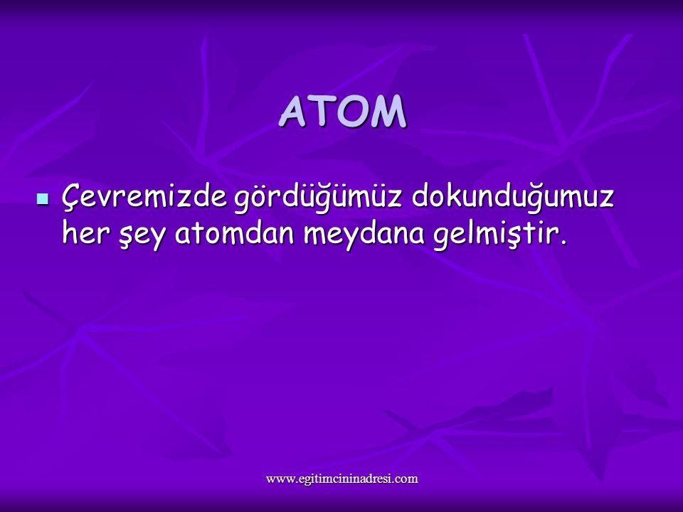 ATOM Çevremizde gördüğümüz dokunduğumuz her şey atomdan meydana gelmiştir.
