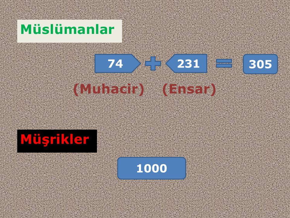 Müslümanlar (Ensar)(Muhacir) 74231 305 Müşrikler 1000