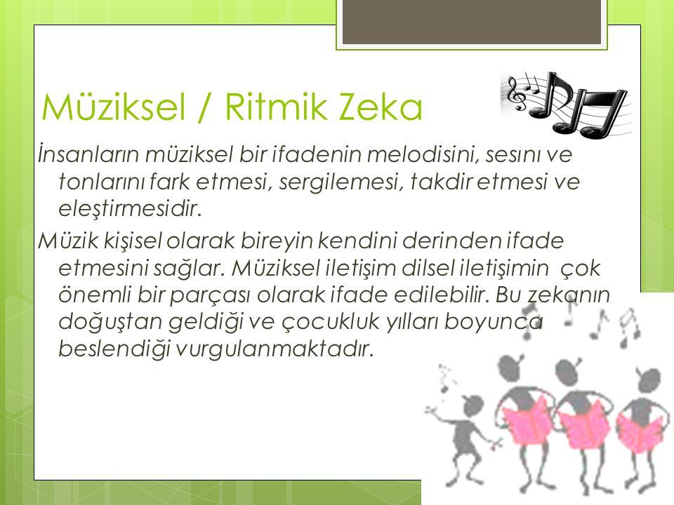 Müziksel / Ritmik Zeka İnsanların müziksel bir ifadenin melodisini, sesini ve tonlarını fark etmesi, sergilemesi, takdir etmesi ve eleştirmesidir. Müz