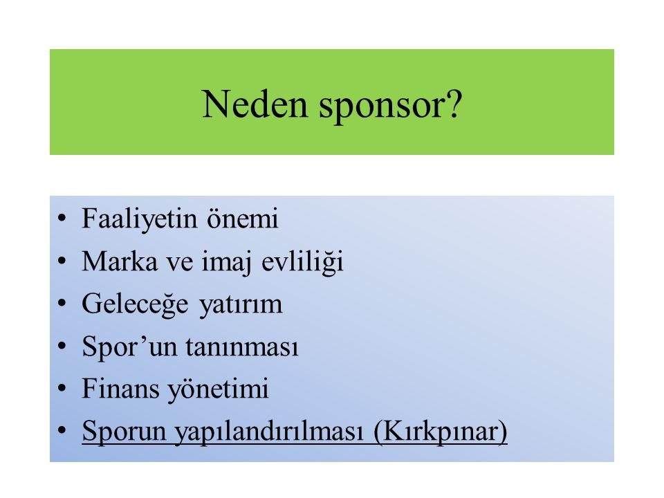 Neden sponsor? Faaliyetin önemi Marka ve imaj evliliği Geleceğe yatırım Spor'un tanınması Finans yönetimi Sporun yapılandırılması (Kırkpınar)