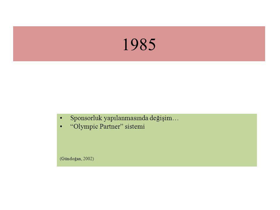 """1985 Sponsorluk yapılanmasında değişim… """"Olympic Partner"""" sistemi (Gündoğan, 2002)"""