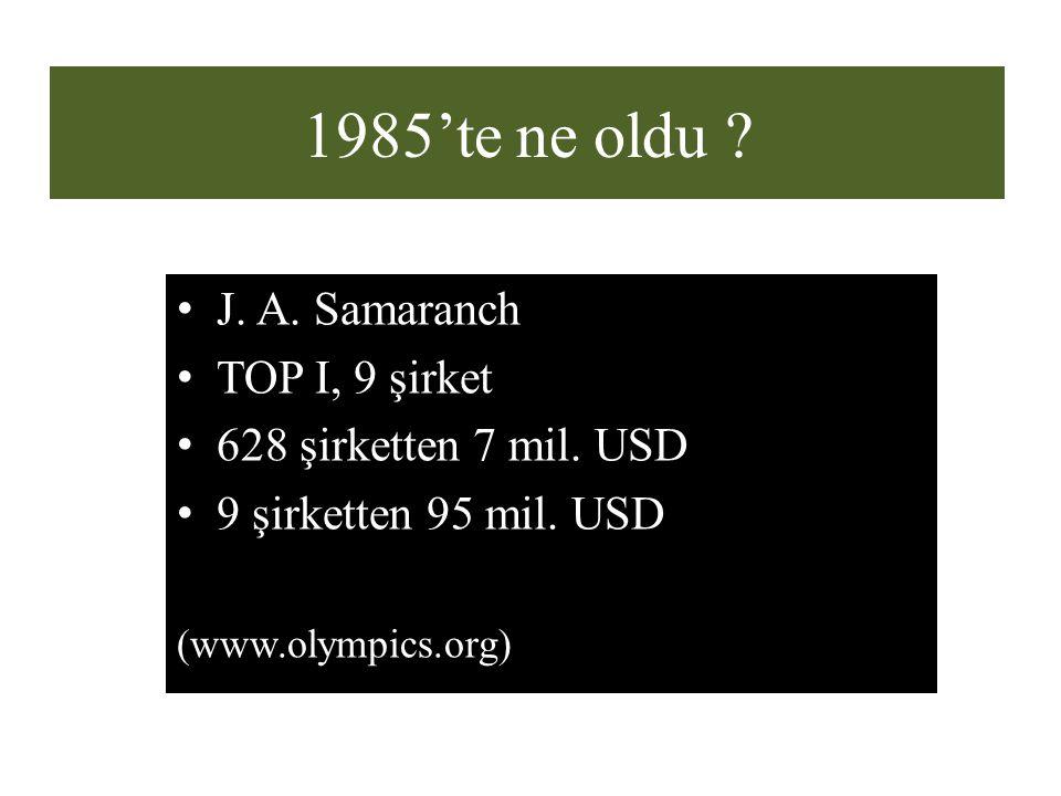 1985'te ne oldu ? J. A. Samaranch TOP I, 9 şirket 628 şirketten 7 mil. USD 9 şirketten 95 mil. USD (www.olympics.org)