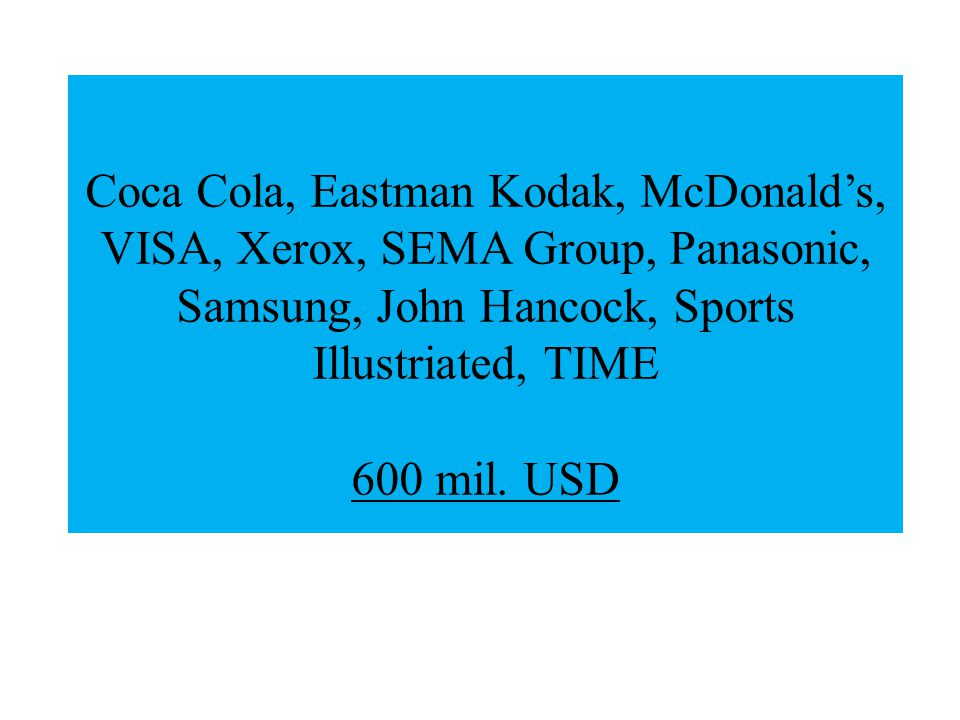 Coca Cola, Eastman Kodak, McDonald's, VISA, Xerox, SEMA Group, Panasonic, Samsung, John Hancock, Sports Illustriated, TIME 600 mil.