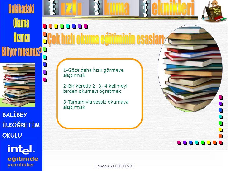 BALİBEY İLKÖĞRETİM OKULU 1-Göze daha hızlı görmeye alıştırmak 2-Bir kerede 2, 3, 4 kelimeyi birden okumayı öğretmek 3-Tamamıyla sessiz okumaya alıştır