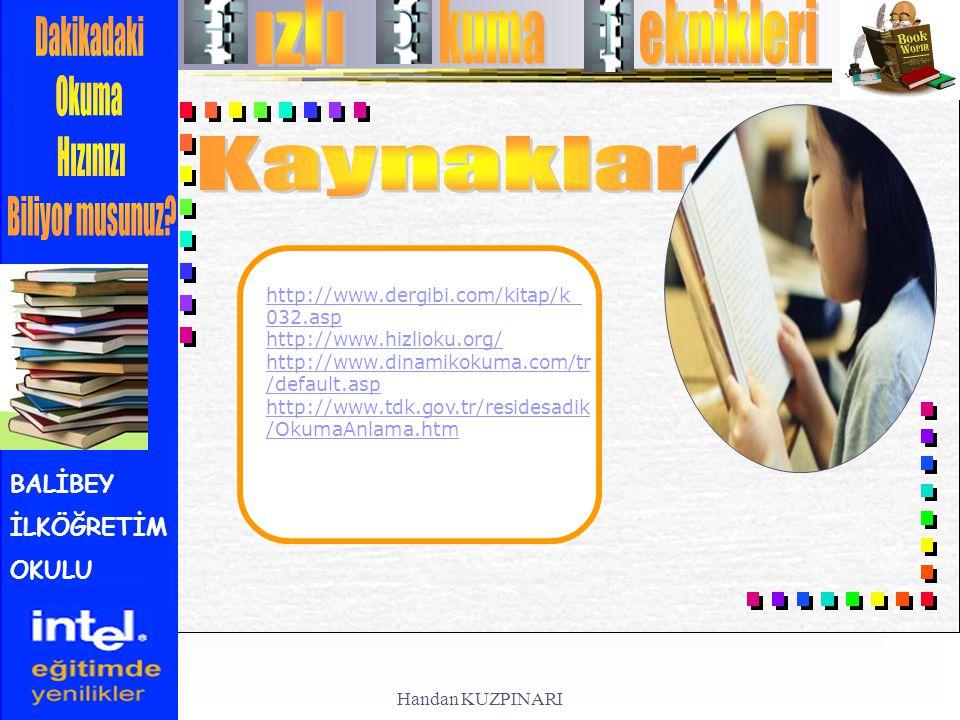 BALİBEY İLKÖĞRETİM OKULU http://www.dergibi.com/kitap/k_ 032.asp http://www.hizlioku.org/ http://www.dinamikokuma.com/tr /default.asp http://www.tdk.g