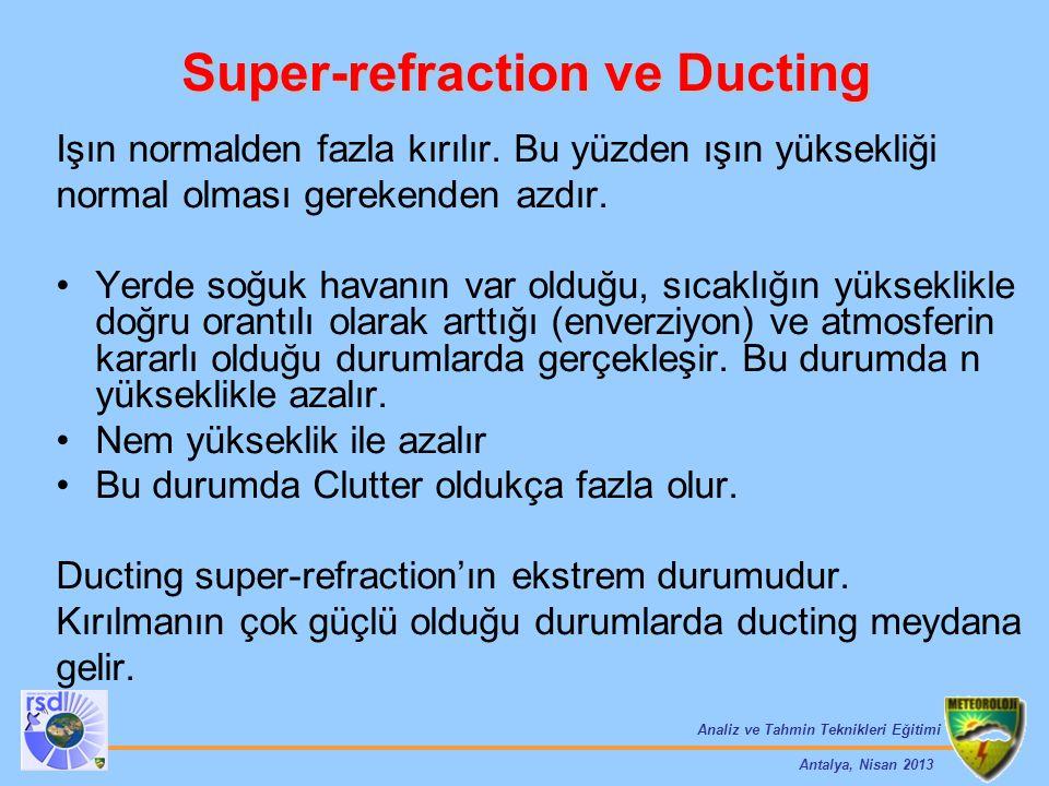 Analiz ve Tahmin Teknikleri Eğitimi Antalya, Nisan 2013 Super-refraction ve Ducting Işın normalden fazla kırılır. Bu yüzden ışın yüksekliği normal olm