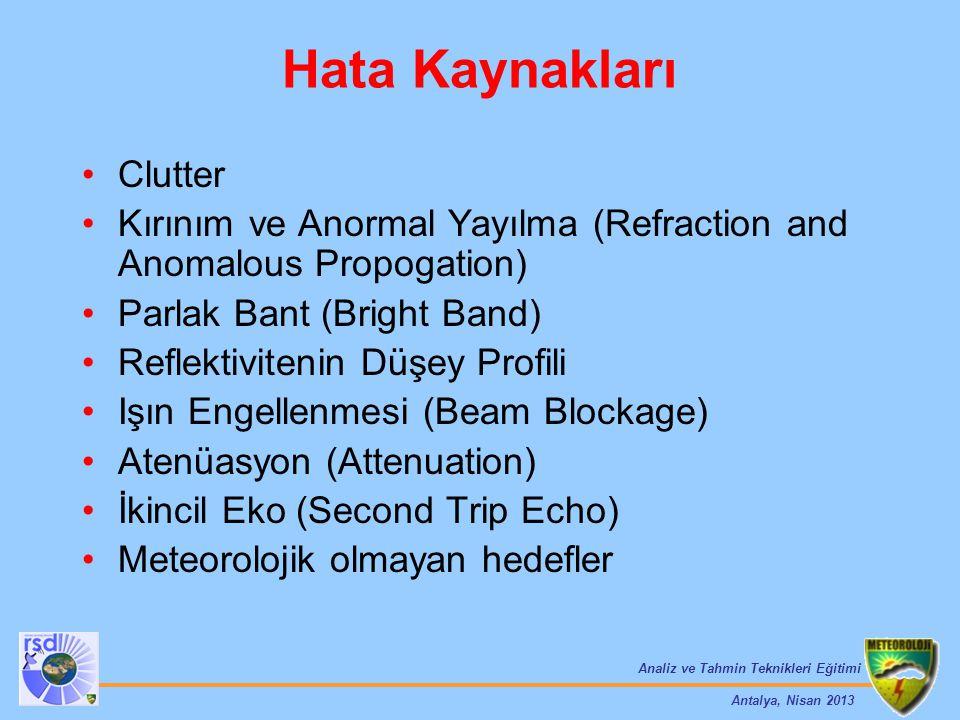 Analiz ve Tahmin Teknikleri Eğitimi Antalya, Nisan 2013 Hata Kaynakları Clutter Kırınım ve Anormal Yayılma (Refraction and Anomalous Propogation) Parl