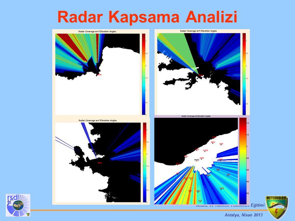 Analiz ve Tahmin Teknikleri Eğitimi Antalya, Nisan 2013 Radar Kapsama Analizi