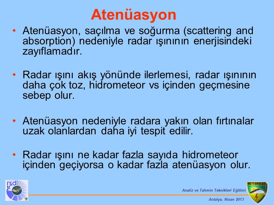 Analiz ve Tahmin Teknikleri Eğitimi Antalya, Nisan 2013 Atenüasyon, saçılma ve soğurma (scattering and absorption) nedeniyle radar ışınının enerjisind