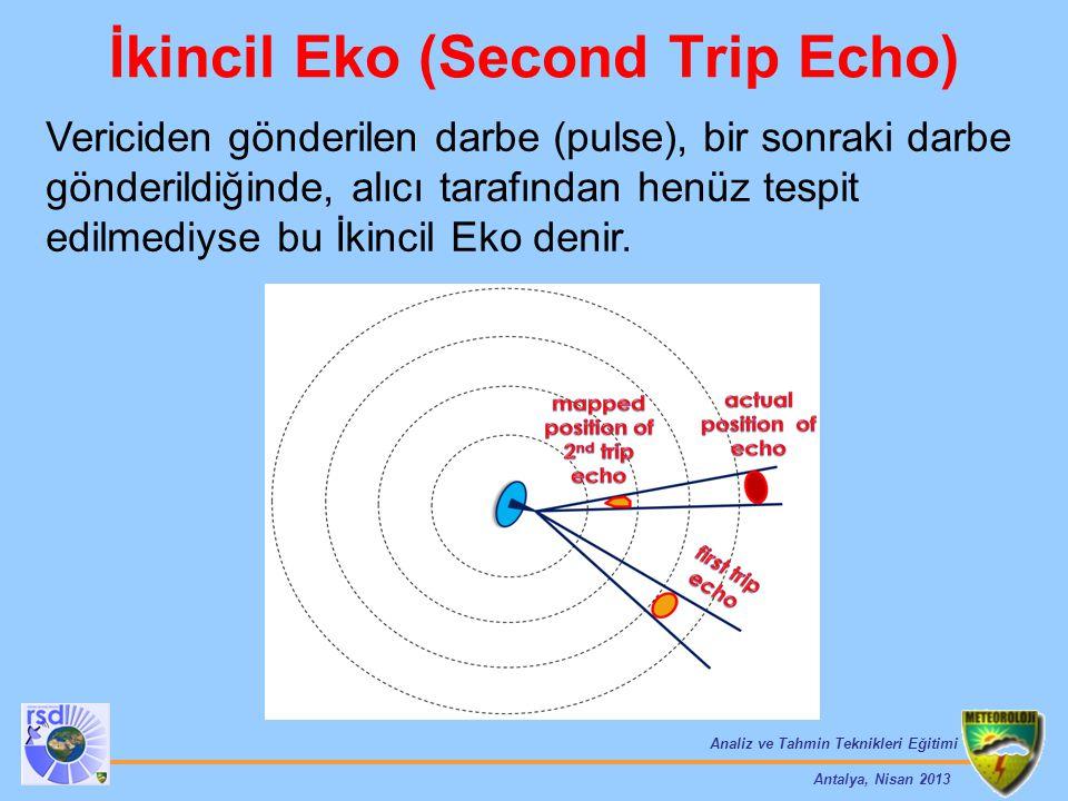Analiz ve Tahmin Teknikleri Eğitimi Antalya, Nisan 2013 İkincil Eko (Second Trip Echo) Vericiden gönderilen darbe (pulse), bir sonraki darbe gönderild