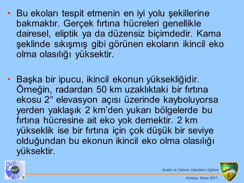 Analiz ve Tahmin Teknikleri Eğitimi Antalya, Nisan 2013 Bu ekoları tespit etmenin en iyi yolu şekillerine bakmaktır. Gerçek fırtına hücreleri genellik