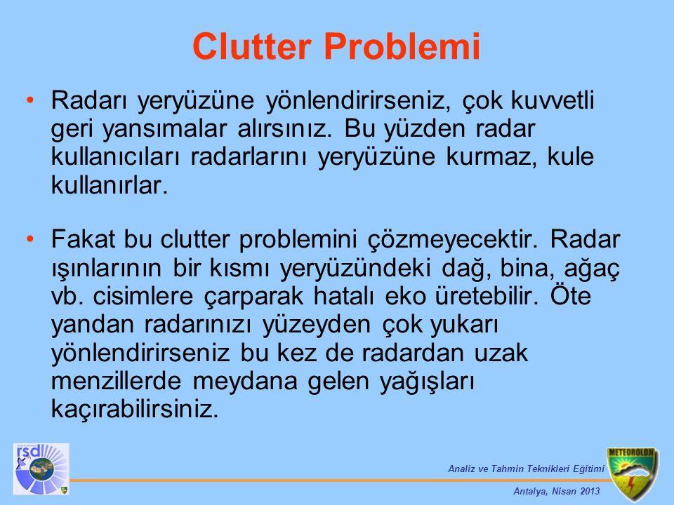 Analiz ve Tahmin Teknikleri Eğitimi Antalya, Nisan 2013 Radarı yeryüzüne yönlendirirseniz, çok kuvvetli geri yansımalar alırsınız. Bu yüzden radar kul