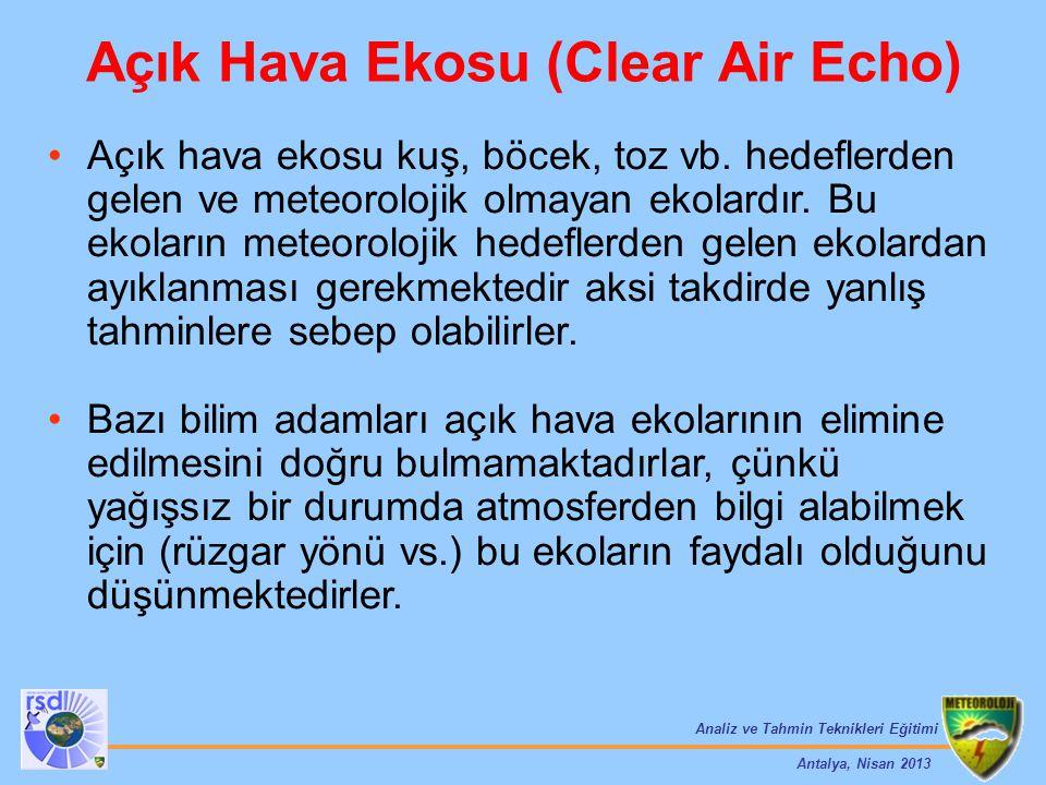 Analiz ve Tahmin Teknikleri Eğitimi Antalya, Nisan 2013 Açık Hava Ekosu (Clear Air Echo) Açık hava ekosu kuş, böcek, toz vb. hedeflerden gelen ve mete
