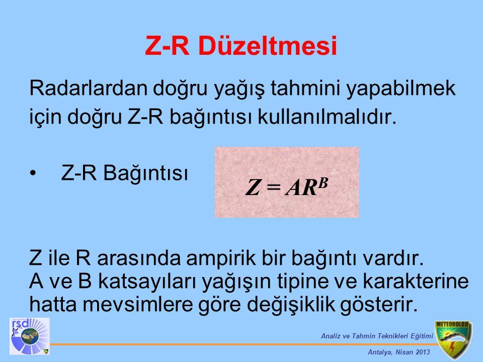 Analiz ve Tahmin Teknikleri Eğitimi Antalya, Nisan 2013 Z-R Düzeltmesi Radarlardan doğru yağış tahmini yapabilmek için doğru Z-R bağıntısı kullanılmal