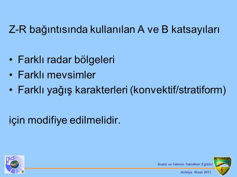 Analiz ve Tahmin Teknikleri Eğitimi Antalya, Nisan 2013 Z-R bağıntısında kullanılan A ve B katsayıları Farklı radar bölgeleri Farklı mevsimler Farklı