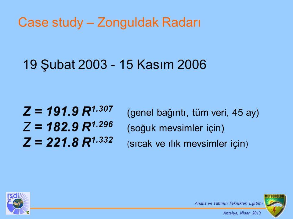 Analiz ve Tahmin Teknikleri Eğitimi Antalya, Nisan 2013 Case study – Zonguldak Radarı 19 Şubat 2003 - 15 Kasım 2006 Z = 191.9 R 1.307 (genel bağıntı,