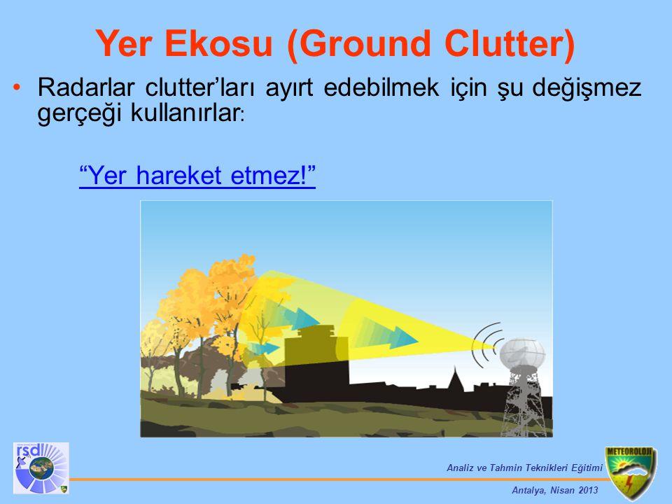 """Analiz ve Tahmin Teknikleri Eğitimi Antalya, Nisan 2013 Radarlar clutter'ları ayırt edebilmek için şu değişmez gerçeği kullanırlar : """"Yer hareket etme"""