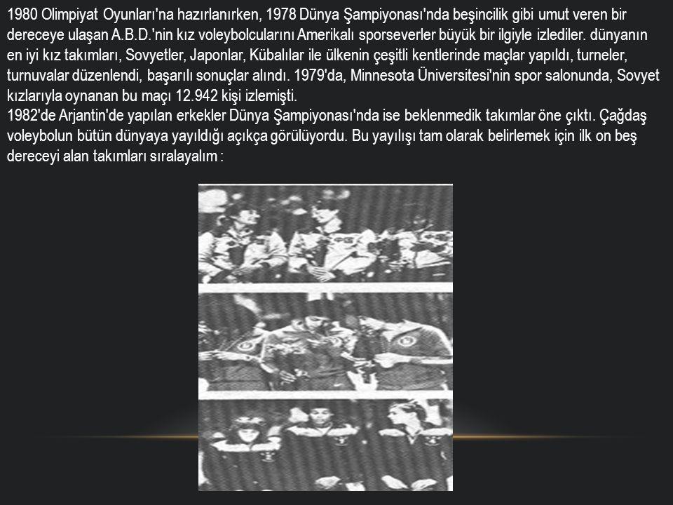 1980 Olimpiyat Oyunları'na hazırlanırken, 1978 Dünya Şampiyonası'nda beşincilik gibi umut veren bir dereceye ulaşan A.B.D.'nin kız voleybolcularını Am
