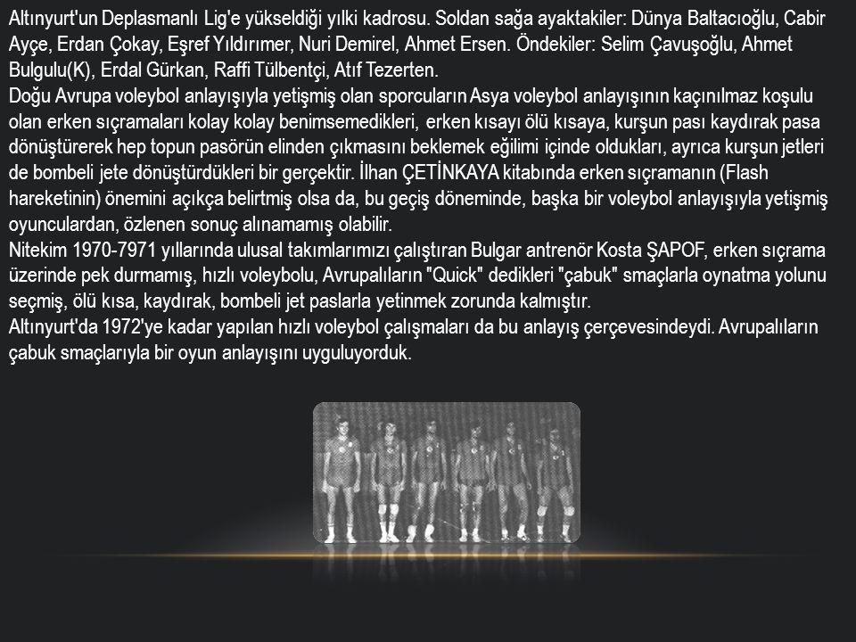 Altınyurt'un Deplasmanlı Lig'e yükseldiği yılki kadrosu. Soldan sağa ayaktakiler: Dünya Baltacıoğlu, Cabir Ayçe, Erdan Çokay, Eşref Yıldırımer, Nuri D