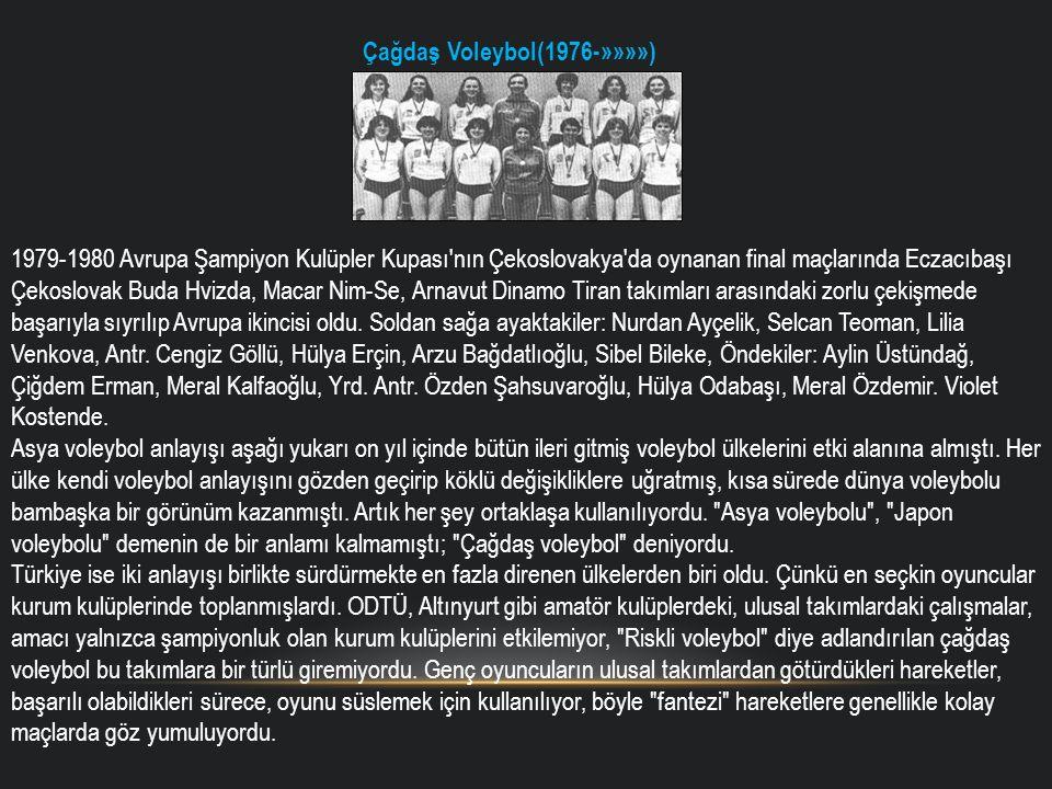 Çağdaş Voleybol(1976-»»»») 1979-1980 Avrupa Şampiyon Kulüpler Kupası'nın Çekoslovakya'da oynanan final maçlarında Eczacıbaşı Çekoslovak Buda Hvizda, M