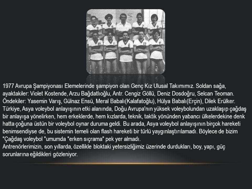 1977 Avrupa Şampiyonası Elemelerinde şampiyon olan Genç Kız Ulusal Takımımız. Soldan sağa, ayaktakiler: Violet Kostende, Arzu Bağdatlıoğlu, Antr. Ceng