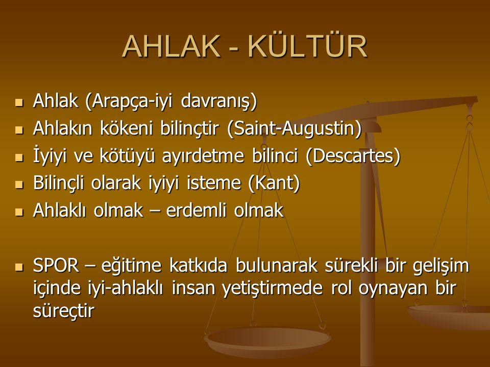 AHLAK - KÜLTÜR Ahlak (Arapça-iyi davranış) Ahlak (Arapça-iyi davranış) Ahlakın kökeni bilinçtir (Saint-Augustin) Ahlakın kökeni bilinçtir (Saint-Augus