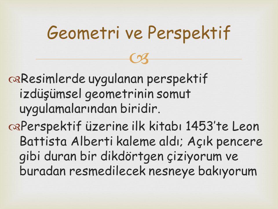  Resimlerde uygulanan perspektif izdüşümsel geometrinin somut uygulamalarından biridir.  Perspektif üzerine ilk kitabı 1453'te Leon Battista Alber