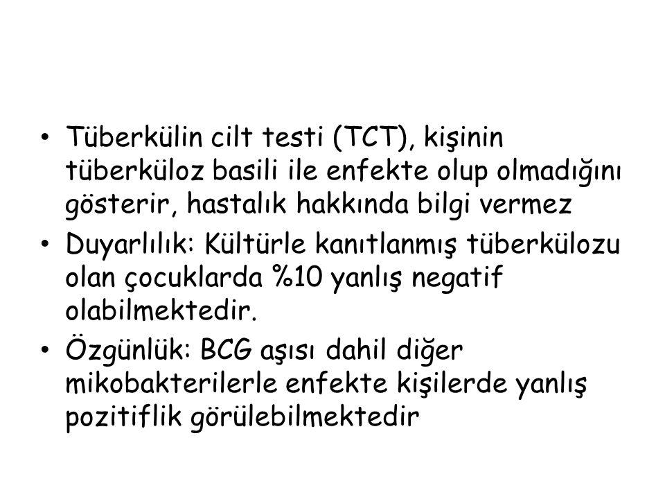 Tüberkülin cilt testi (TCT), kişinin tüberküloz basili ile enfekte olup olmadığını gösterir, hastalık hakkında bilgi vermez Duyarlılık: Kültürle kanıt
