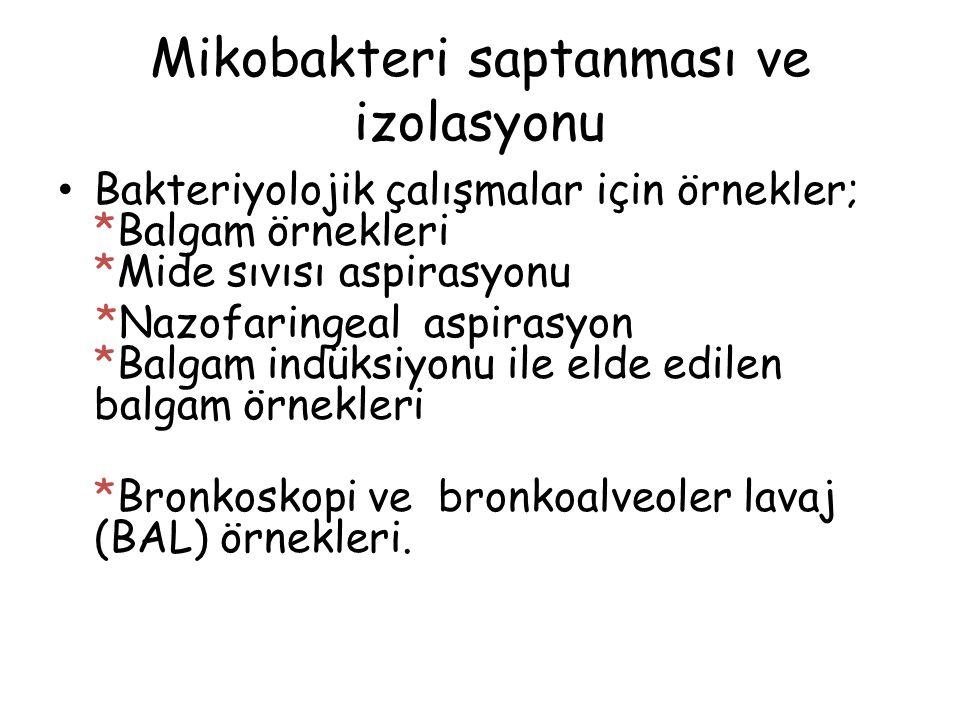 Mikobakteri saptanması ve izolasyonu Bakteriyolojik çalışmalar için örnekler; *Balgam örnekleri *Mide sıvısı aspirasyonu *Nazofaringeal aspirasyon *Ba