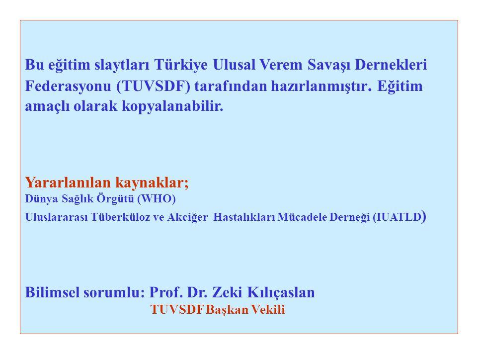 Bu eğitim slaytları Türkiye Ulusal Verem Savaşı Dernekleri Federasyonu (TUVSDF) tarafından hazırlanmıştır. Eğitim amaçlı olarak kopyalanabilir. Yararl