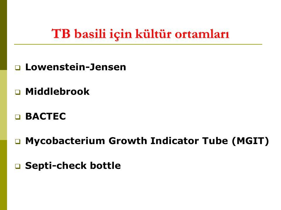 TB basili için kültür ortamları  Lowenstein-Jensen  Middlebrook  BACTEC  Mycobacterium Growth Indicator Tube (MGIT)  Septi-check bottle