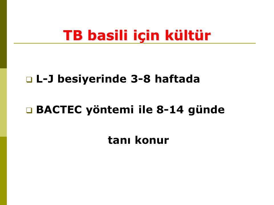  L-J besiyerinde 3-8 haftada  BACTEC yöntemi ile 8-14 günde tanı konur TB basili için kültür