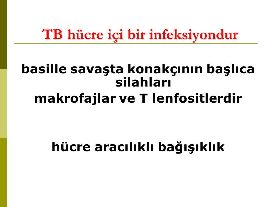 TB hücre içi bir infeksiyondur TB hücre içi bir infeksiyondur basille savaşta konakçının başlıca silahları makrofajlar ve T lenfositlerdir hücre aracılıklı bağışıklık