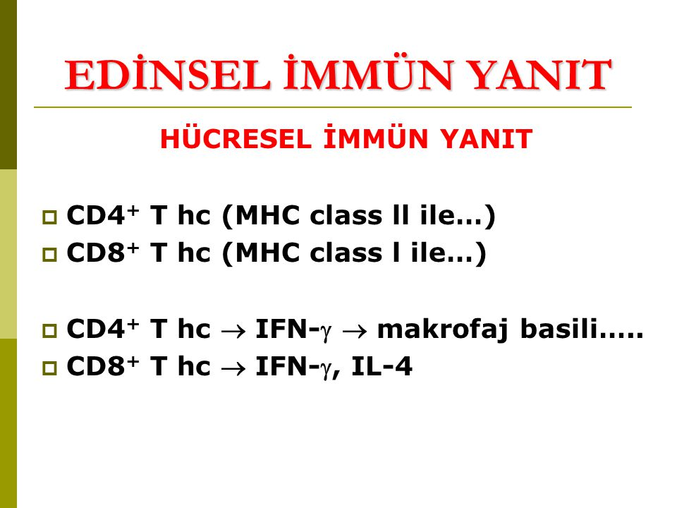 HÜCRESEL İMMÜN YANIT  CD4 + T hc (MHC class ll ile…)  CD8 + T hc (MHC class l ile…)  CD4 + T hc  IFN-  makrofaj basili…..