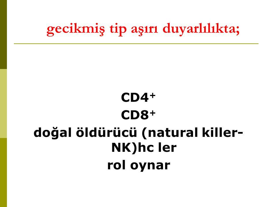 gecikmiş tip aşırı duyarlılıkta; CD4 + CD8 + doğal öldürücü (natural killer- NK)hc ler rol oynar