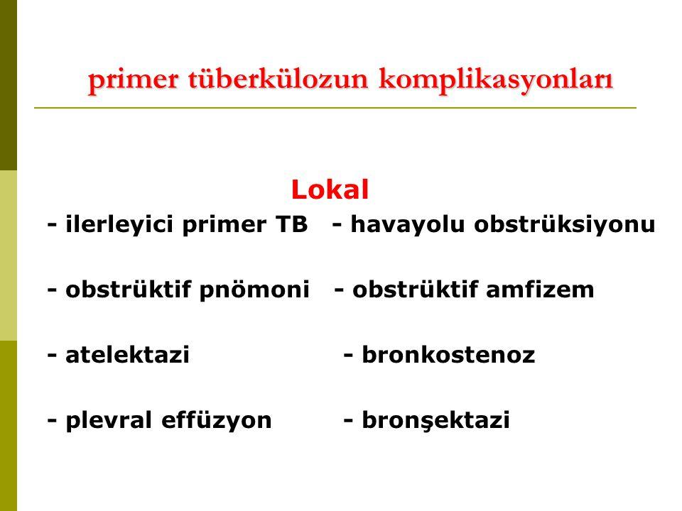 primer tüberkülozun komplikasyonları Lokal - ilerleyici primer TB - havayolu obstrüksiyonu - obstrüktif pnömoni - obstrüktif amfizem - atelektazi - bronkostenoz - plevral effüzyon - bronşektazi