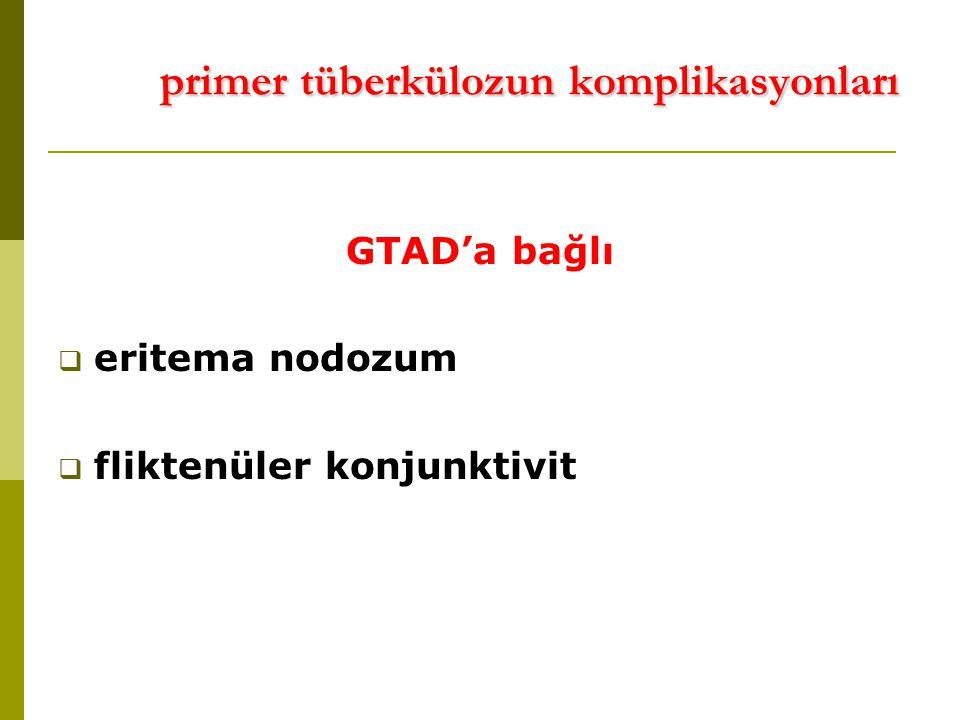 primer tüberkülozun komplikasyonları primer tüberkülozun komplikasyonları GTAD'a bağlı  eritema nodozum  fliktenüler konjunktivit