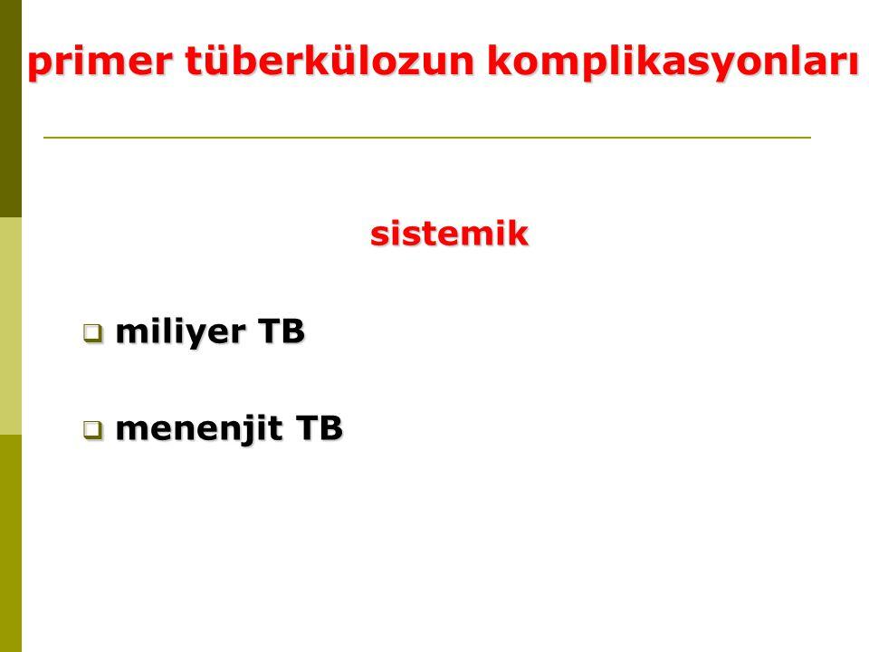 sistemik  miliyer TB  menenjit TB primer tüberkülozun komplikasyonları