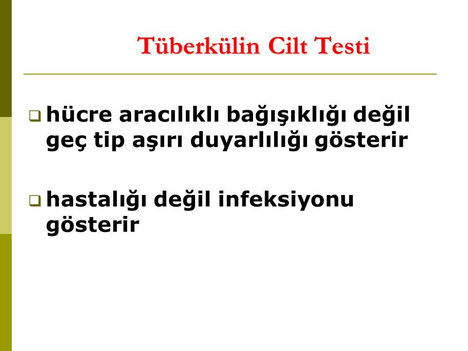 Tüberkülin Cilt Testi  hücre aracılıklı bağışıklığı değil geç tip aşırı duyarlılığı gösterir  hastalığı değil infeksiyonu gösterir