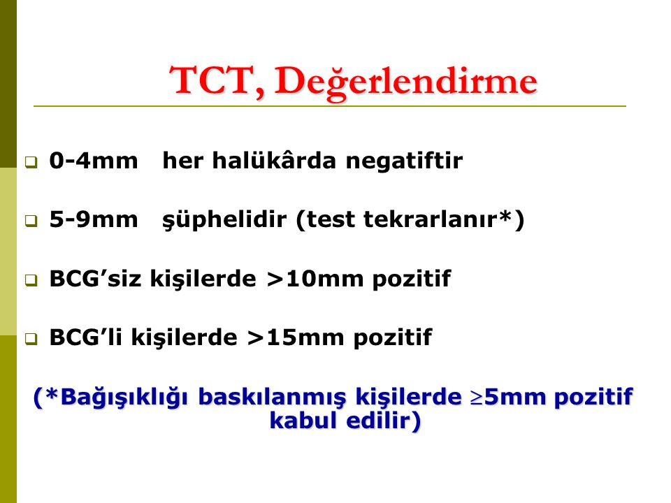 TCT, Değerlendirme  0-4mm her halükârda negatiftir  5-9mm şüphelidir (test tekrarlanır*)  BCG'siz kişilerde >10mm pozitif  BCG'li kişilerde >15mm pozitif (*Bağışıklığı baskılanmış kişilerde 5mm pozitif kabul edilir)