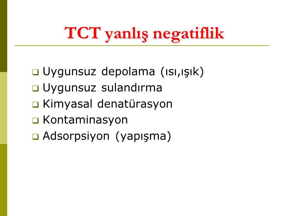 TCT yanlış negatiflik  Uygunsuz depolama (ısı,ışık)  Uygunsuz sulandırma  Kimyasal denatürasyon  Kontaminasyon  Adsorpsiyon (yapışma)