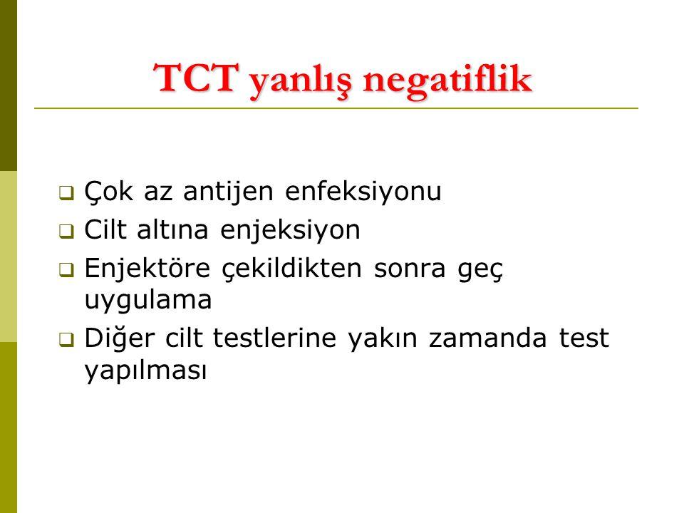 TCT yanlış negatiflik  Çok az antijen enfeksiyonu  Cilt altına enjeksiyon  Enjektöre çekildikten sonra geç uygulama  Diğer cilt testlerine yakın zamanda test yapılması