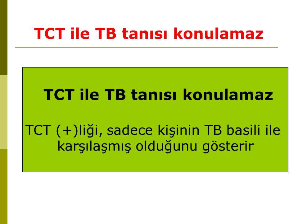 TCT ile TB tanısı konulamaz TCT (+)liği, sadece kişinin TB basili ile karşılaşmış olduğunu gösterir TCT ile TB tanısı konulamaz