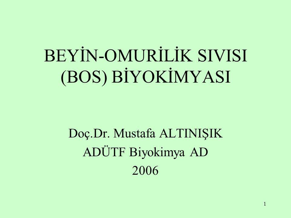 1 BEYİN-OMURİLİK SIVISI (BOS) BİYOKİMYASI Doç.Dr. Mustafa ALTINIŞIK ADÜTF Biyokimya AD 2006