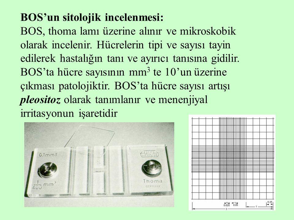 8 BOS'un sitolojik incelenmesi: BOS, thoma lamı üzerine alınır ve mikroskobik olarak incelenir. Hücrelerin tipi ve sayısı tayin edilerek hastalığın ta