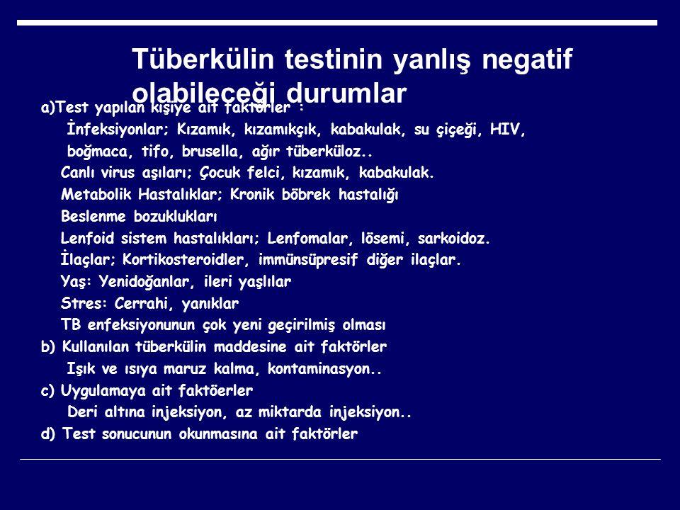 Tüberkülin testinin yanlış negatif olabileceği durumlar a)Test yapılan kişiye ait faktörler : İnfeksiyonlar; Kızamık, kızamıkçık, kabakulak, su çiçeği
