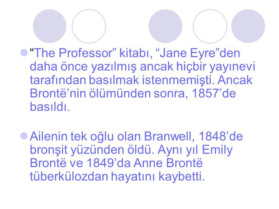 """""""The Professor"""" kitabı, """"Jane Eyre""""den daha önce yazılmış ancak hiçbir yayınevi tarafından basılmak istenmemişti. Ancak Brontë'nin ölümünden sonra, 18"""