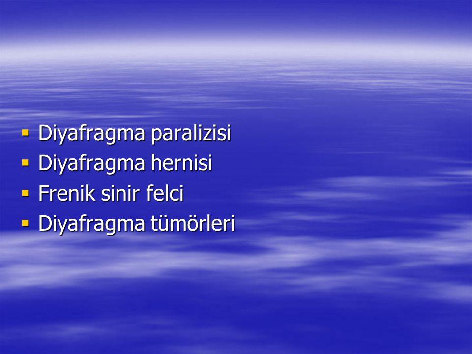  Diyafragma paralizisi  Diyafragma hernisi  Frenik sinir felci  Diyafragma tümörleri